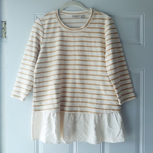 LOGO Lori Goldstein Textured Stripes Tunic Sz XS